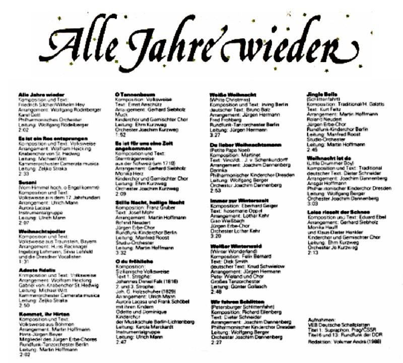 Ddr Weihnachtslieder Texte.Alle Jahre Wieder Album Der Schönsten Weihnachtslieder