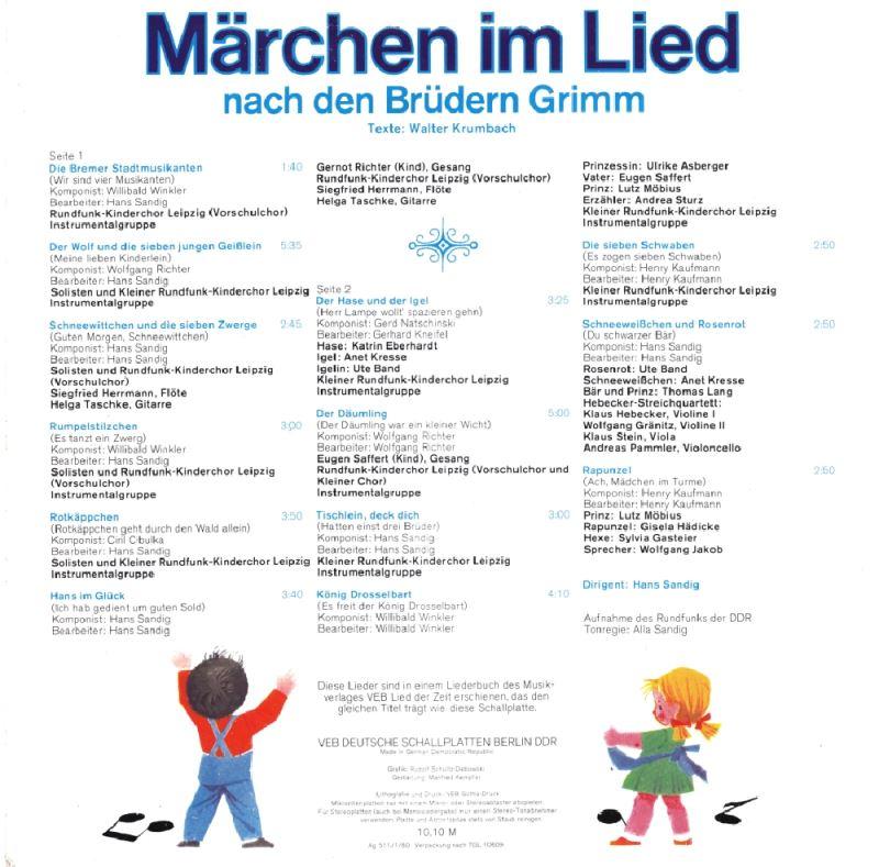 Märchen Im Lied Cd Lieder Brüder Grimm Ddr