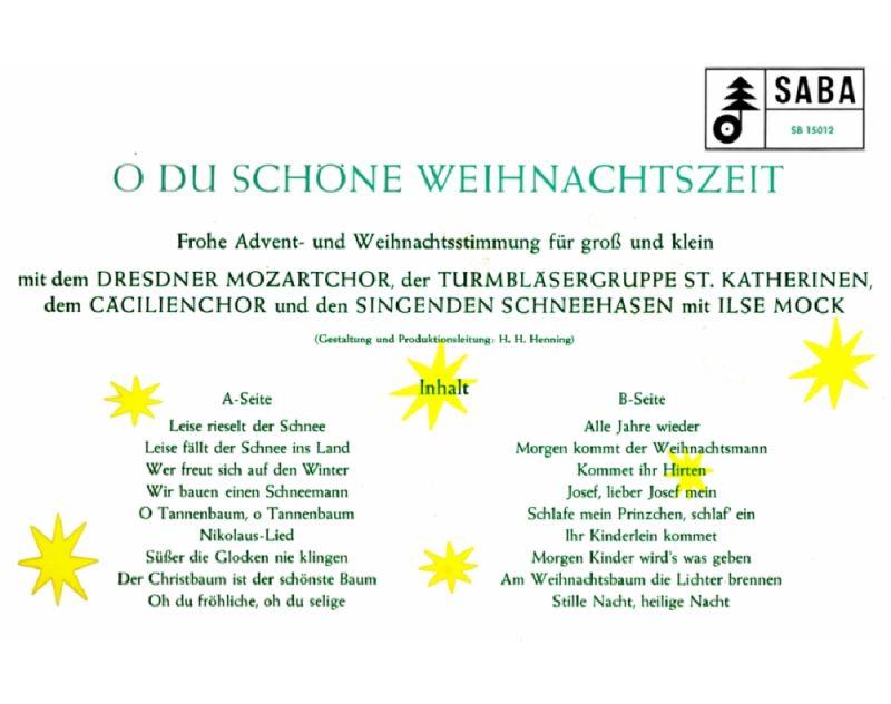 O Tannenbaum Kinderlied.O Du Schöne Weihnachtszeit Saba Audio Cd