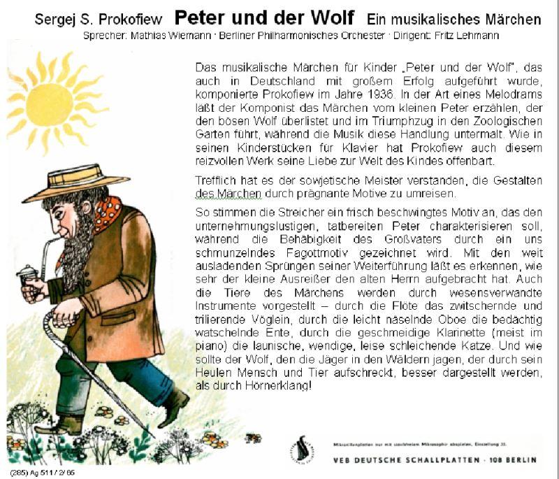 Peter Und Der Wolf Ddr 1965 Audio Cd border=