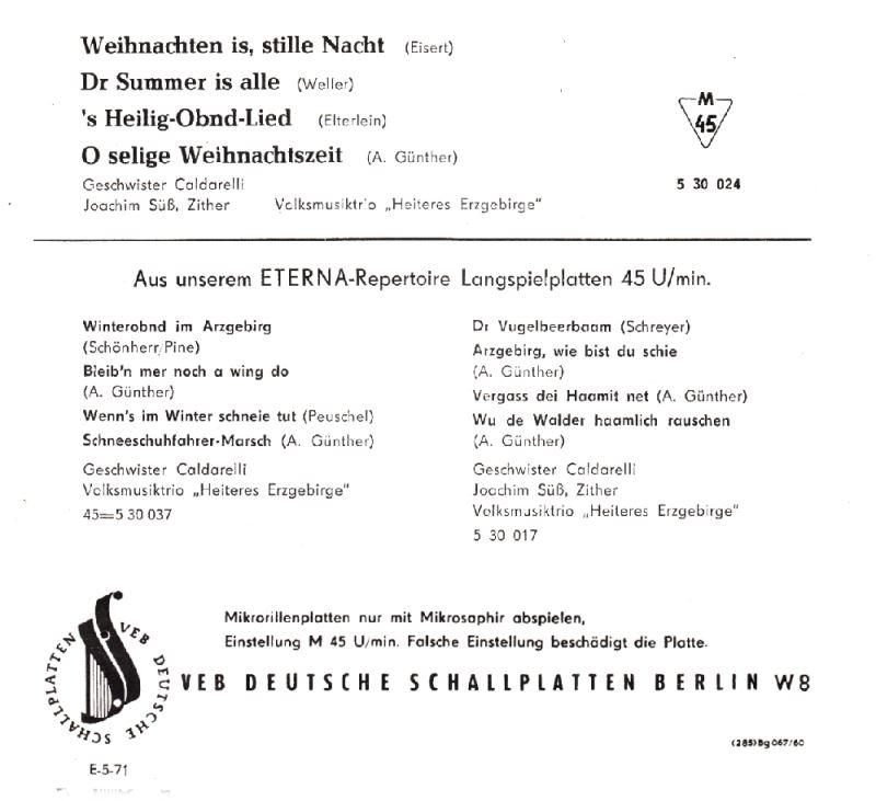 Weihnachtslieder 1960 (DDR Erzgebirge) Audio CD